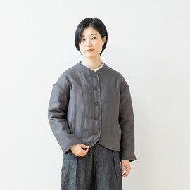 TUTIE.|リネン中綿キルトノーカラージャケット