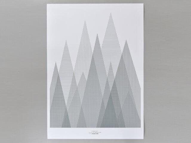 こちらはフォレストというデザインのポスターです。鋭角な木々が並んでいて、シャープでスッキリとした印象。どの木も縦か横のラインだけで表現されていて、それが重なると格子状になり、その細かさで色の濃さが変わるおもしろい仕組み。