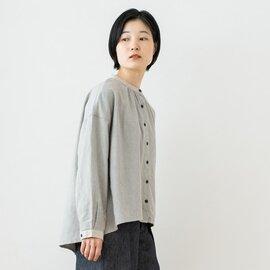 TUTIE. 綿麻TOP杢シャギー起毛バンドカラーブラウス