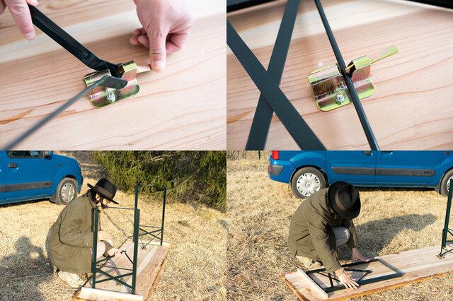 ※組み立ては、天板裏面、金具のレバーを押して脚を起こし、金具に留めて固定するだけで簡単に行えます。 折り畳むときはレバーを押して脚を外し、倒したら金具に留めて固定します。 手元や周囲に注意して行ってください。