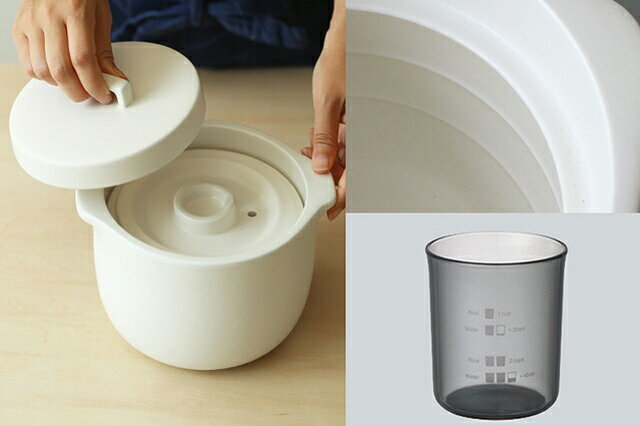 この土鍋の一番の特徴は、中蓋がついているということ。 蓋が二重構造になっているため、しっかり圧力がかかって、吹きこぼれを防いでくれるんです。 (炊くときは、中蓋と外蓋の上記穴の位置をずらしてくださいね。) 沸騰したら蒸気が出てくるので、それを目安に弱火にします。 炊き上がったら10~15分しっかり蒸らすのもポイントです。 この土鍋にはお米もお水もしっかり量れるメジャーカップがついているのも嬉しい。 さらに、土鍋の内側には下は1合、上は2合分のお水の目安になる線も入っています。 だからわざわざ量らなくても目分量でお水を入れられます。 ただ、この線はあくまで目安。 正確な水分量ではないので、使いながら慣れてくださいね。 最初はしっかり軽量カップで量ることをおすすめします。