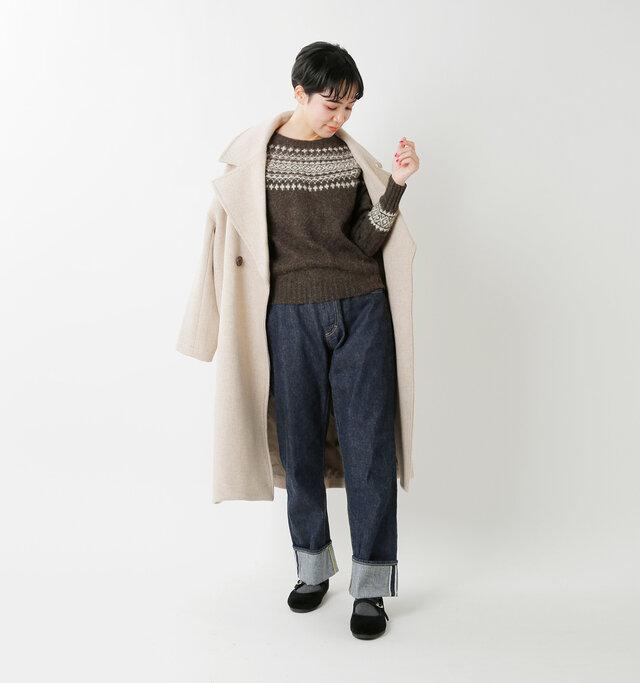 model saku:163cm / 43kg color : mole×cream / size : 34
