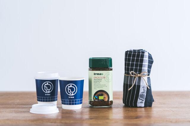 [セット内容] ・イヤマ インスタントコーヒー ボトル ・キッチンタオル(ホワイト、ブラックからお選びいただけます) ・紙コップ