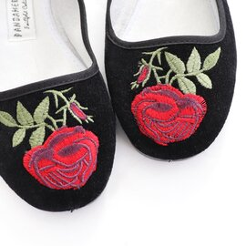 PANDAMERICA ローズ刺繍・ベルベットメリージェーン