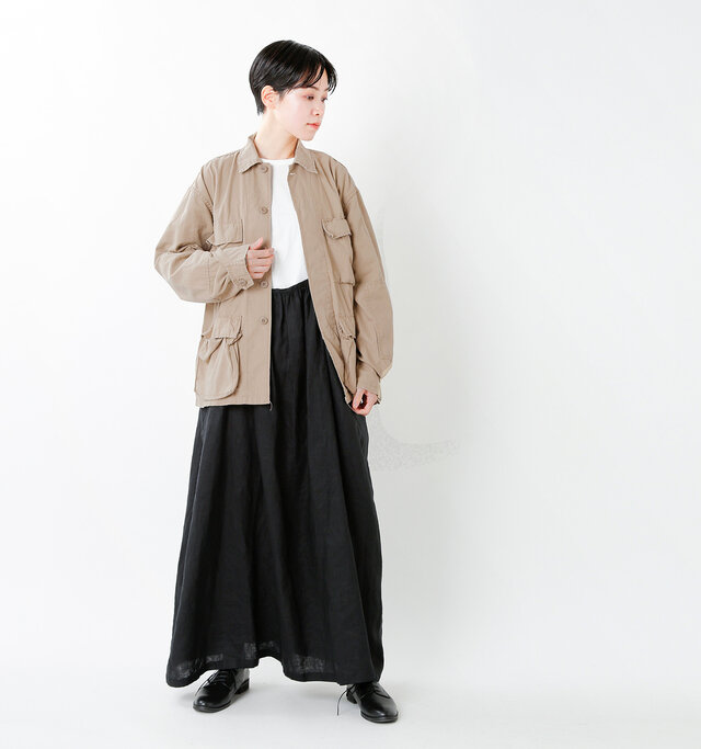 model saku:163cm / 43kg color : khaki / size : S