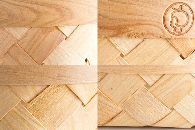 天然木を使用しているため、画像のような木の節やささくれ、一部割れが生じている場合がございますが、ご使用上の強度に問題はございません。 また、接合部分の透明接着剤が表面に付着している場合がございます。予めご了承くださいませ。