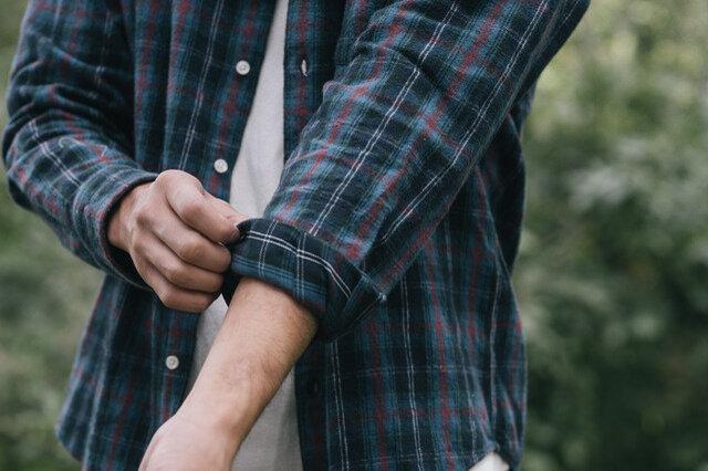 袖口は、1回半か2回半捲ると袖が落ちて来ないバランスに