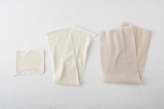 左:洗顔タオル 中央:ボディタオル 左:ボディタオル メッシュタイプ