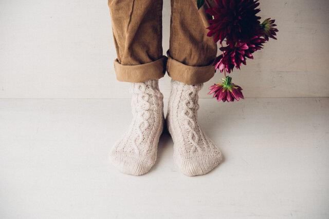 まるで手編みのような贅沢な質感。パンツの裾から覗かせるととても可愛いです。
