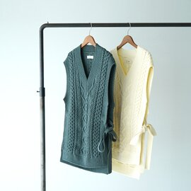 unfil フレンチ ミラノ ケーブルニット ベスト french merino cable-knit vest サイドスリット Vネック ベスト リボン付き トップス WZFL-UW147 アンフィル