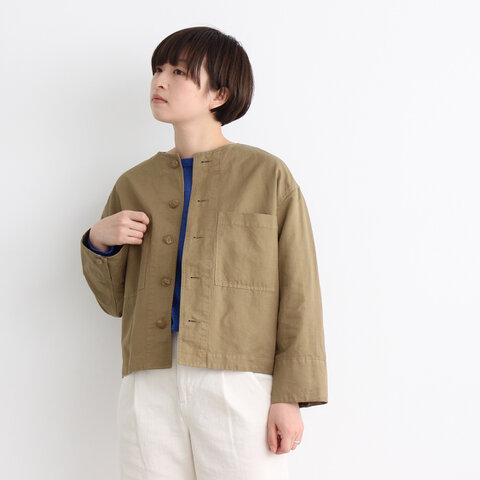 yuni|コットン/リネン 高密度ノーカラーブルゾン 1701BZ002191