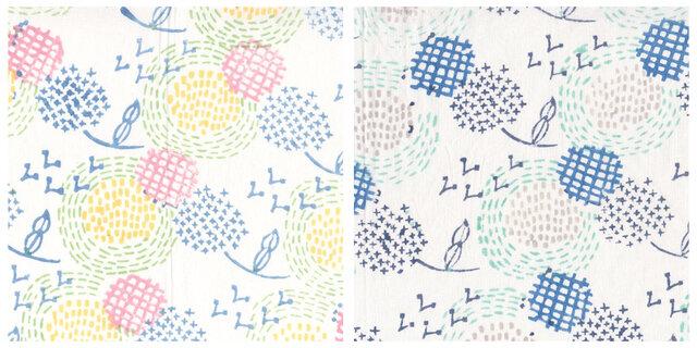 ふわり ふわり 広がっていく 小さな種 (左:ピンク 右:ブルー)