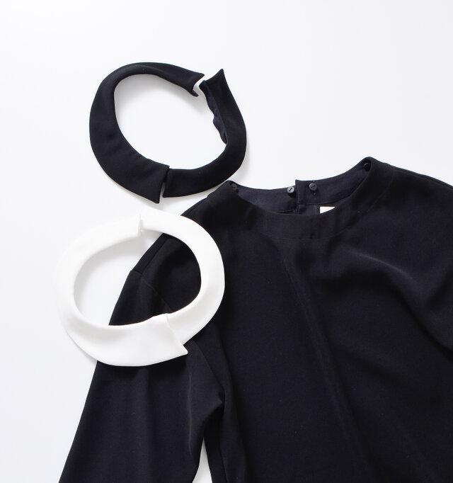カラー(襟)の付け外しが自由なので、ノーカラー、ブラック襟、ホワイト襟の3パターンコーデが可能◎ カラーも上質な生地で作られているので、ワンピースから浮くことなくフォーマルなスタイルを楽しめます。