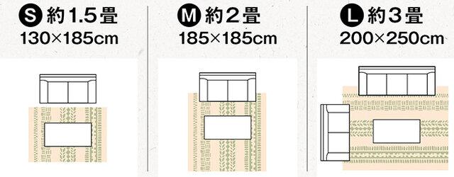 Sサイズは、ちょっとしたスペースに置けるコンパクトな1.5畳サイズ。 Mサイズは、家族が集まるリビングやコタツがあるお部屋などにちょうどいい2畳サイズ。 Lサイズは、広めのリビングでもゆったり使える3畳サイズ。  ※サイズによってデザインが異なります。上記のデザイン画を参照ください。