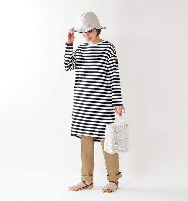 model yama:167cm / 49kg color : blane×noir / size : 1(S)