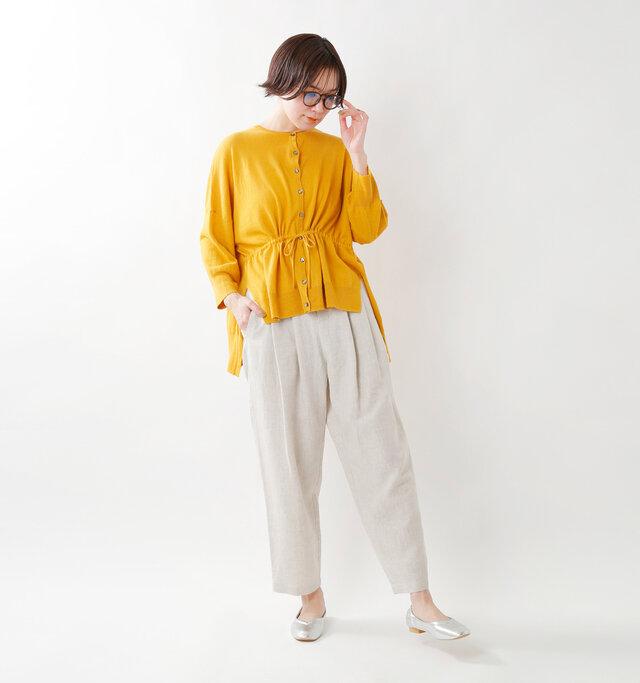 model saku:163cm / 43kg  color : citron yellow / size : F