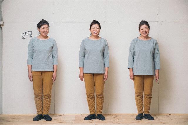 マドカ 杢グレー 身長158cm 左:サイズ2、中央:サイズ3、右:サイズ4(普段の着用サイズ2、冬の重ね着の季節は3。)