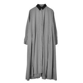 mizuiro ind|フロントフライフレアシャツワンピース front fly flared shirt one-piece ワイドシルエット ロング丈マキシ丈 ワンピース 4-258807