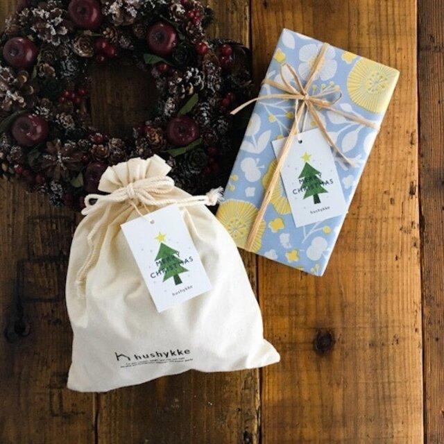クリスマスラッピングを選ばれた方は、画像のようにクリスマスツリーのイラストが描かれたタグをお付けします。