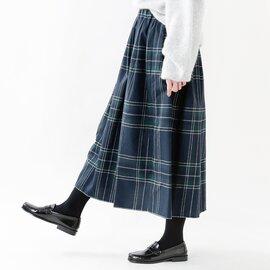 O'NEIL OF DUBLIN|aranciato別注 ウールブレンドタックチェックロングスカート s26582-yn