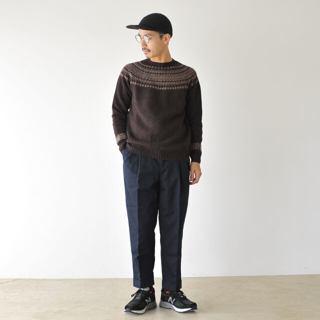 モデル:173cm / 58kg color : truffle×nutmeg / size : 40(Men's M)  シンプルなデザインと豊富なサイズ展開で男性の方にもおすすめです◎