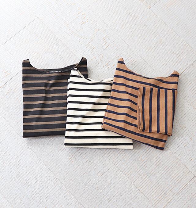 定番で合わせやすいボーダーは着回し力もバツグンです! パンツにもスカートにも合わせやすい、使い勝手の良いアイテムに仕上がっています。