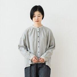 TUTIE.|綿麻TOP杢シャギー起毛バンドカラーブラウス