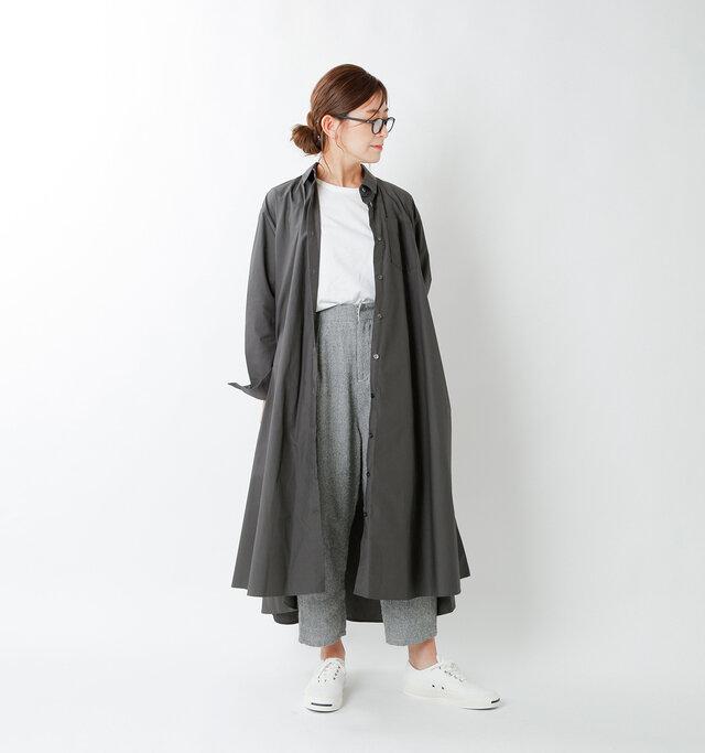 model tomo:158cm / 45kg  color : charcoal gray / size : F