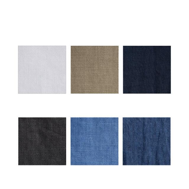左上から時計回りに「off white」「beige」「navy」「indigo」「fade blue」「charcoal」の6種類をご用意しました。