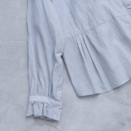 yuni|キュプラ/コットン ナチュラルトリプルワッシャー フリルブラウス 1701BL005211