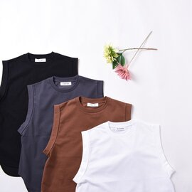 SACRA|プレミアムコットン クルーネック ノースリーブ Tシャツ 120263021  サクラ