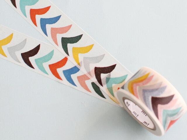 色とりどりの渡り鳥の一群が空を羽ばたくテキスタイル「bird」のワイドサイズのマスキングテープ。