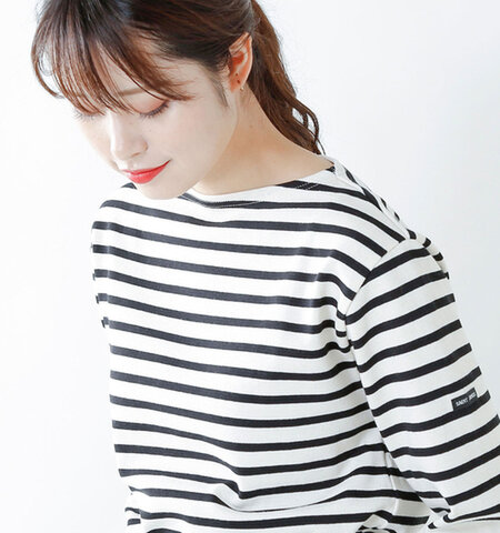 SAINT JAMES 厚手コットン ボートネックカットソー ouessant-ms