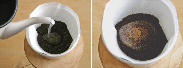 -Point- ・凹みにお湯を満たすように、中心1点に注ぎます。 ・ぷっくり膨れてくるので、香ばしい香りがしてくるまで待ちます。 ※最初に入れるお湯は15cc~20ccを目安に!