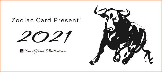 KOZLIFEから皆様へ、ちょっと早いお年賀です。 12/1からKOZLIFEでお買い物いただいたお客様に フィンランド人アーティスト・テーム ヤルヴィ描き下ろし、 2021年の干支のポストカード(A5サイズ・非売品)をプレゼントいたします♪  ※プレゼント数に達し次第終了いたします。ご了承ください。