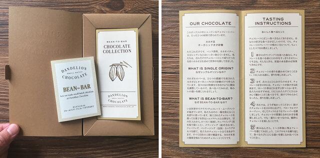 セットされているチョコレートバーの特徴やダンデライオンのBean to Barチョコレートの製造工程などがわかる説明書を同梱しています。 わたしたちのチョコレートについての説明やおいしく食べるヒントが記載されています。