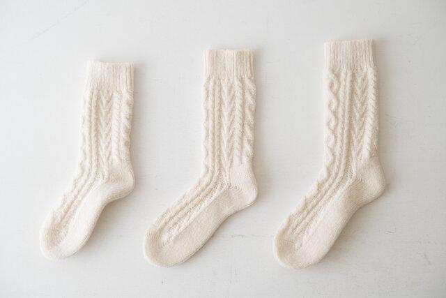 左からS:22~24cm、M:24~26cm、L:26~28cm(カラーはスノーホワイト)