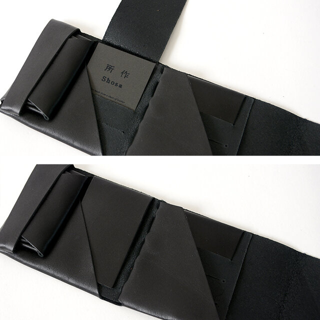 カードを6枚収納できるカードスリットをデザイン。 内側のカードスリットにはカードを保護できるフラップ付きで、お財布を開いた際もスマートです。