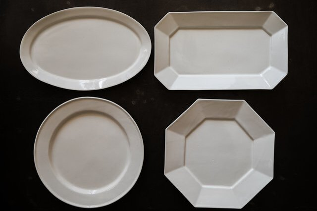 左下リム付き丸皿ホワイト