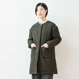 TUTIE.|ウール混中綿キルトノーカラーコート