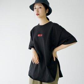 kha:ki|【21ss】クルーネック 半袖 Tシャツ プリントT カットソー オーバーサイズ MIL-21HCS239A MIL-21HCS239B カーキ