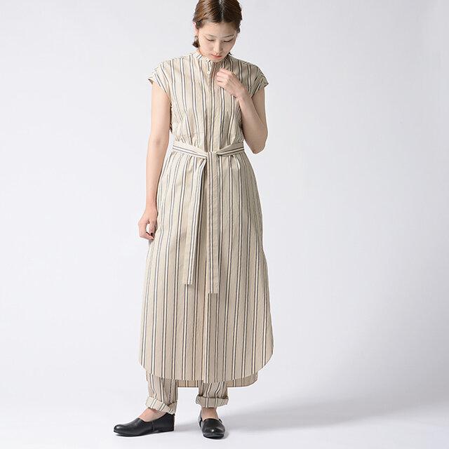 モデル:170cm / 54kg color : beige stripe / size : 0 (フリーサイズ)