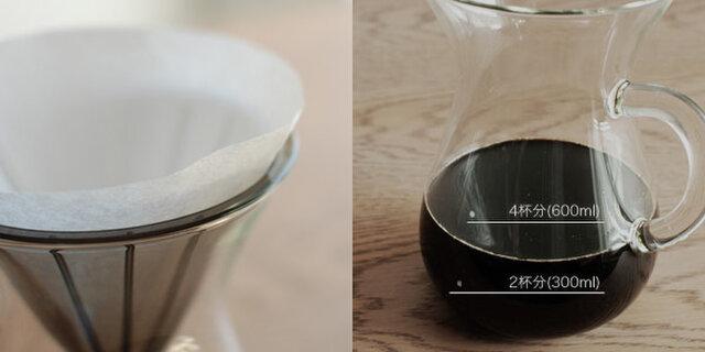 円錐型の樹脂製ブリューワーにペーパーフィルターをセットしてドリップしたコーヒーは、まろやかでクリアな飲み心地です。 透明なガラスのカラフェは、コーヒーが落ちる様子を目で確かめながら、表面の小さなドットのデザインで抽出量の目安を計ることができます。