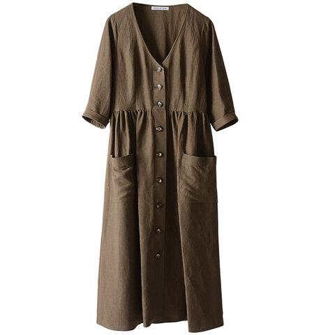 MARECHAL TERRE|Linen gown op リネン混5分袖切り替えワンピース・ZMT191OP708 マルシャル テル