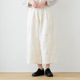 TUTIE.|リネン総柄刺繍タックワイドパンツ