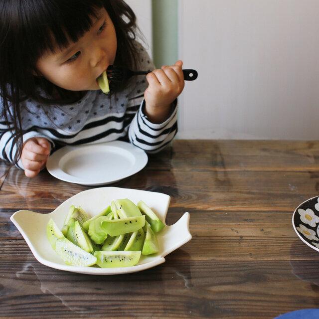トリさんのお腹の部分は深さもあるためキウイのような汁っ気のある果物をのせても平気です。