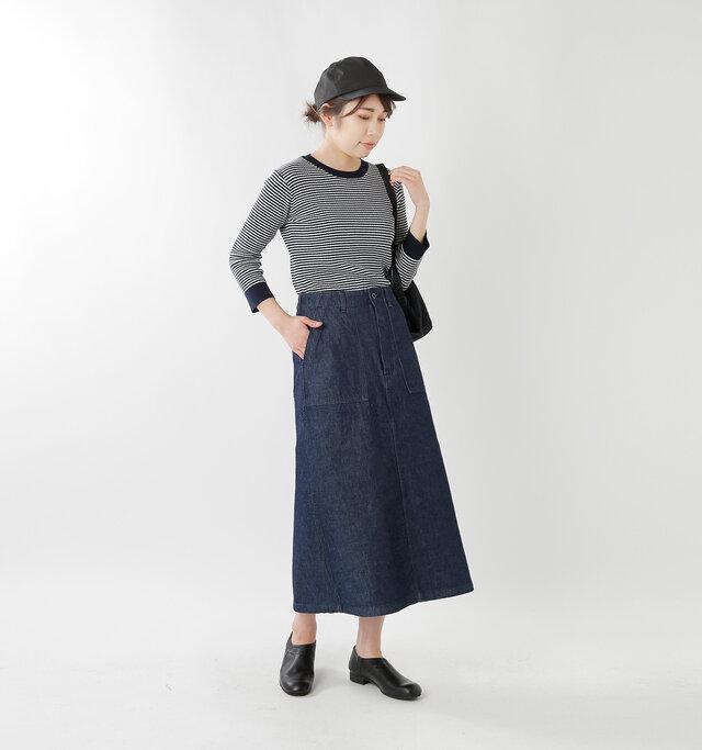 model hikari:165cm / 48kg  color : indigo / size : 36