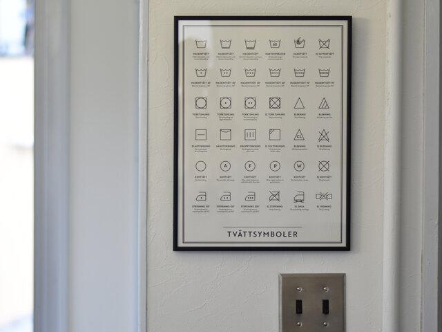 こちらはWashing Symbols(ウォッシング・シンボル)。洗濯絵表示がずらりと描かれています。普段何気なく生活の場で目にするアイコンも、こうやって並べられるとなんだか新鮮です。