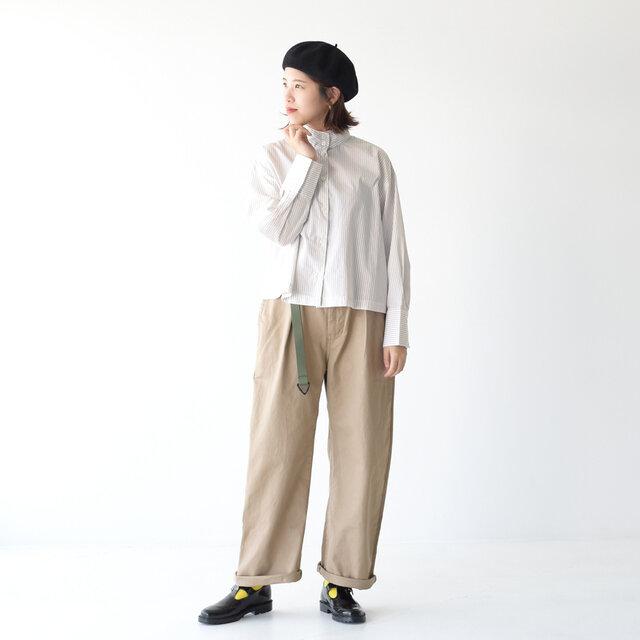 モデル: 157cm /47kg color:beige stripe