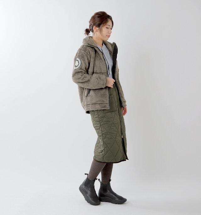 model hikari:165cm / 48kg color : weimaraner brown / size : M